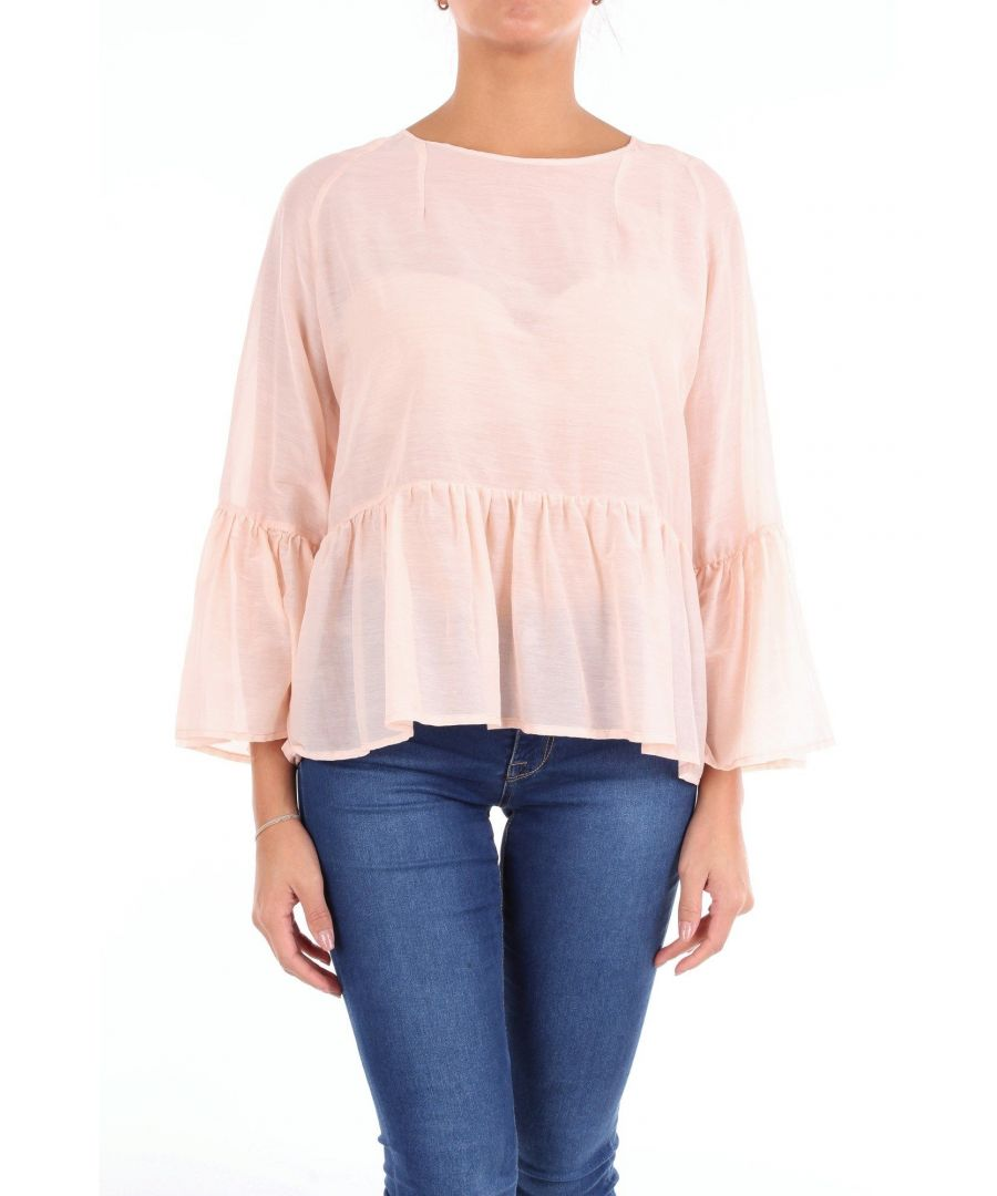 Image for JUCCA WOMEN'S J2912114SALMONE PINK SILK BLOUSE