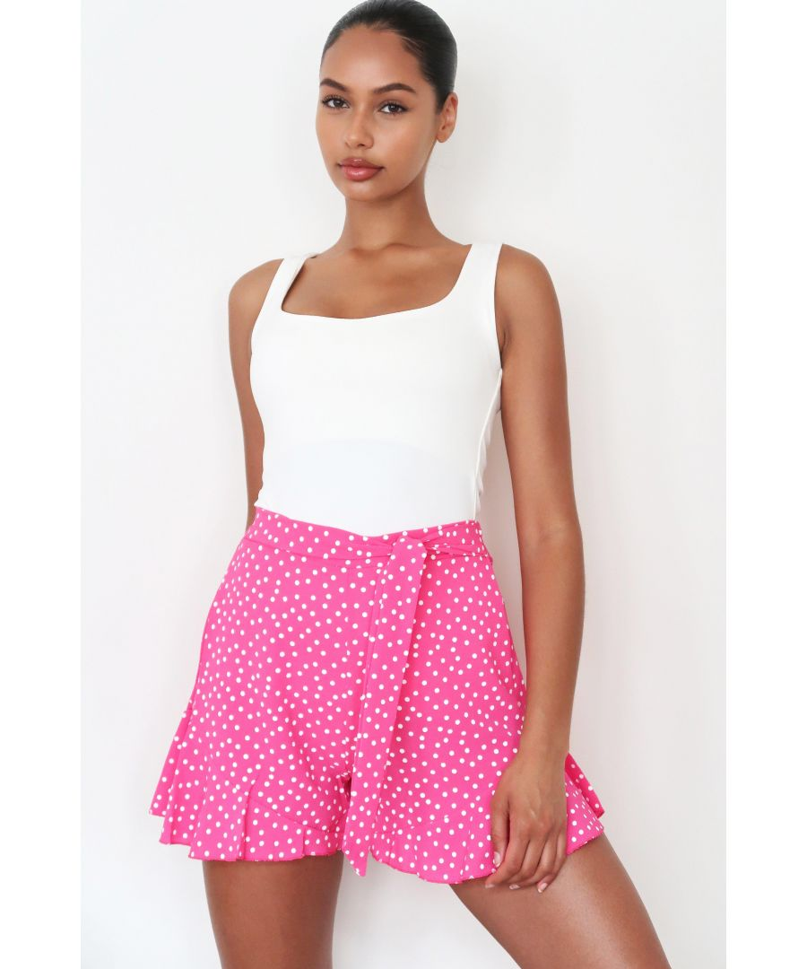 Image for Pink and White Polka Dot Frill Shorts