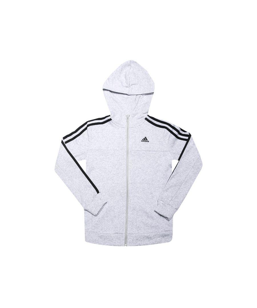 Image for Boys' adidas Junior Sport Id 3-Stripes Zip Hoodie Light Grey 7-8In Light Grey