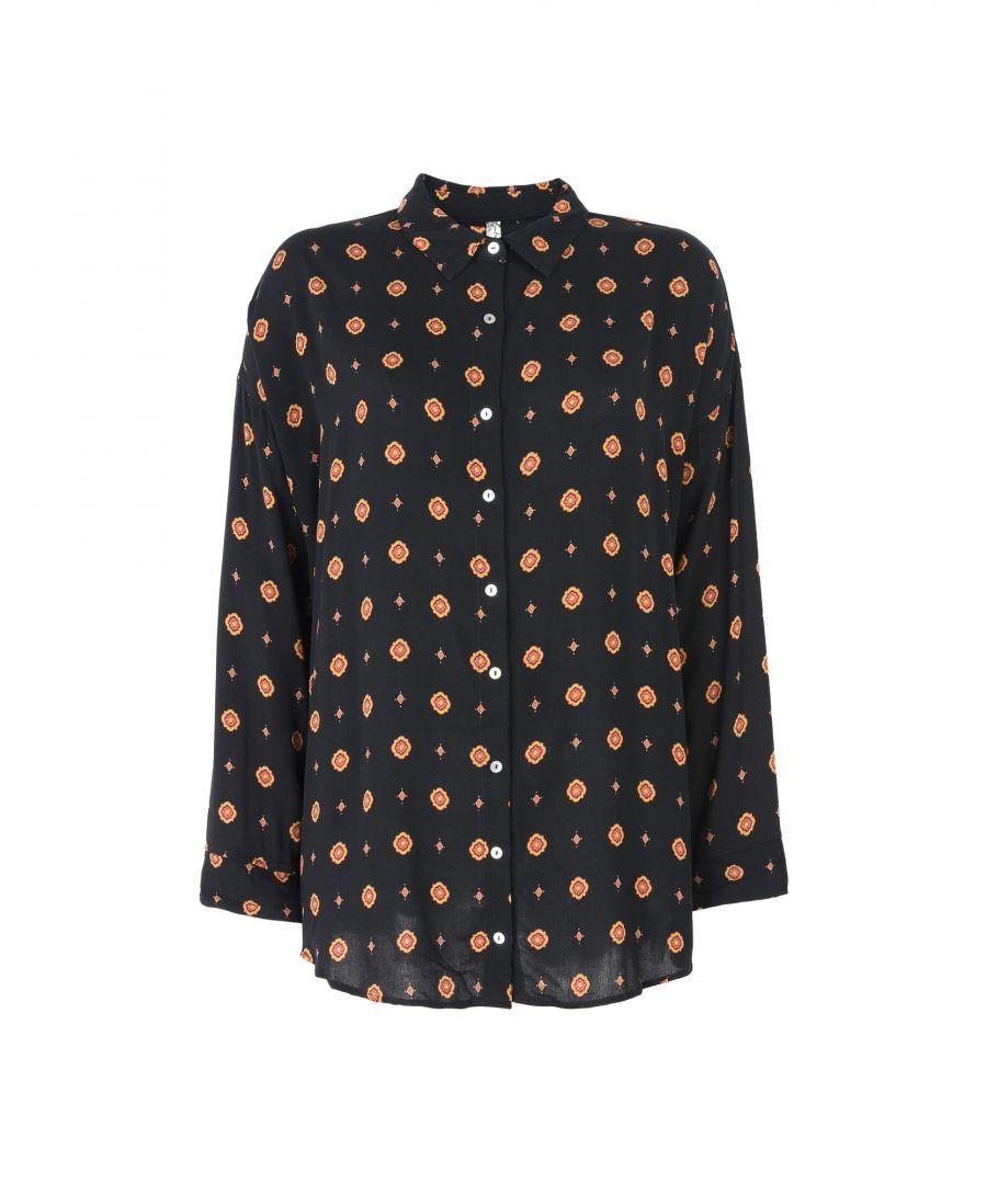 Image for Free People Black Multicolour Pattern Crepe Pyjama Shirt