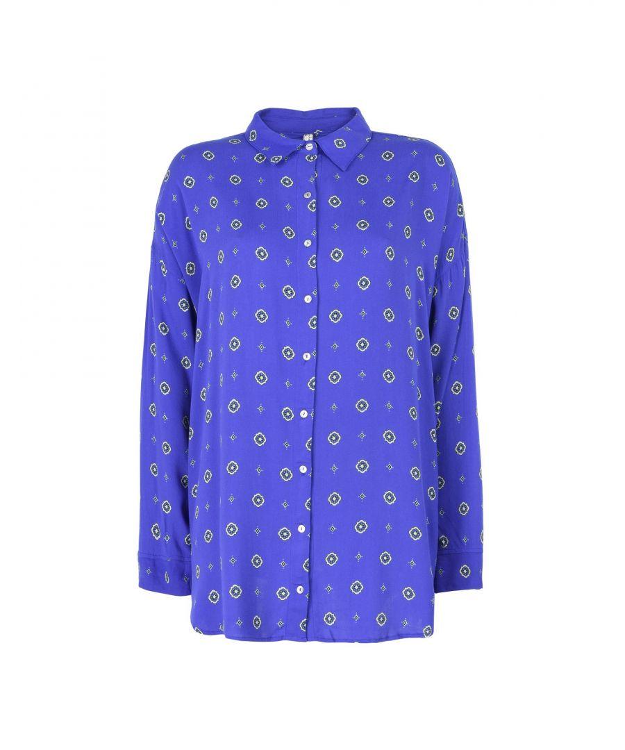 Image for Free People Dark Blue Pattern Crepe Pyjama Shirt