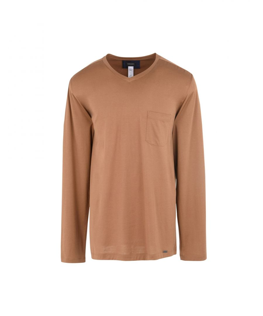 Image for Hanro Camel Cotton Jersey Long Sleeve T-Shirt