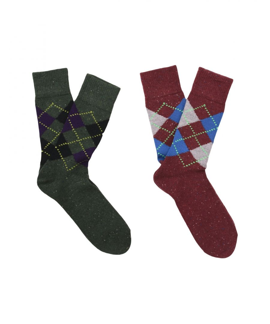 Image for Burlington Maroon Geometric Design Virgin Wool Knit Socks Set Of Two