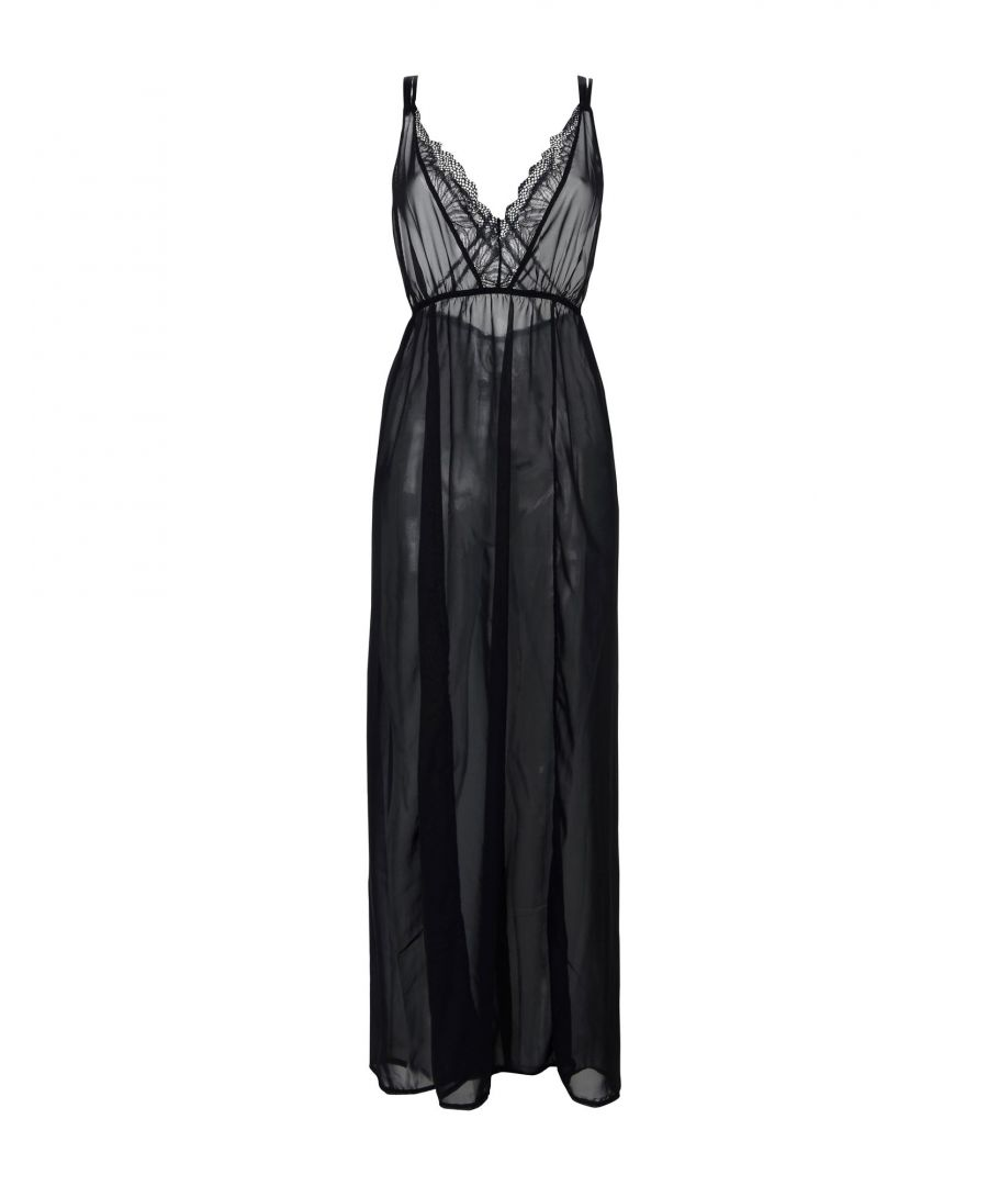 Image for Bluebella Black Lace And Chiffon Full Length Nightdress