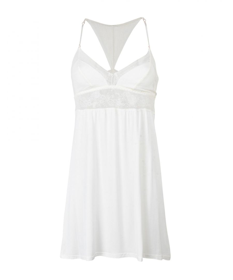 Image for Eberjey Ivory Modal And Lace Chemise