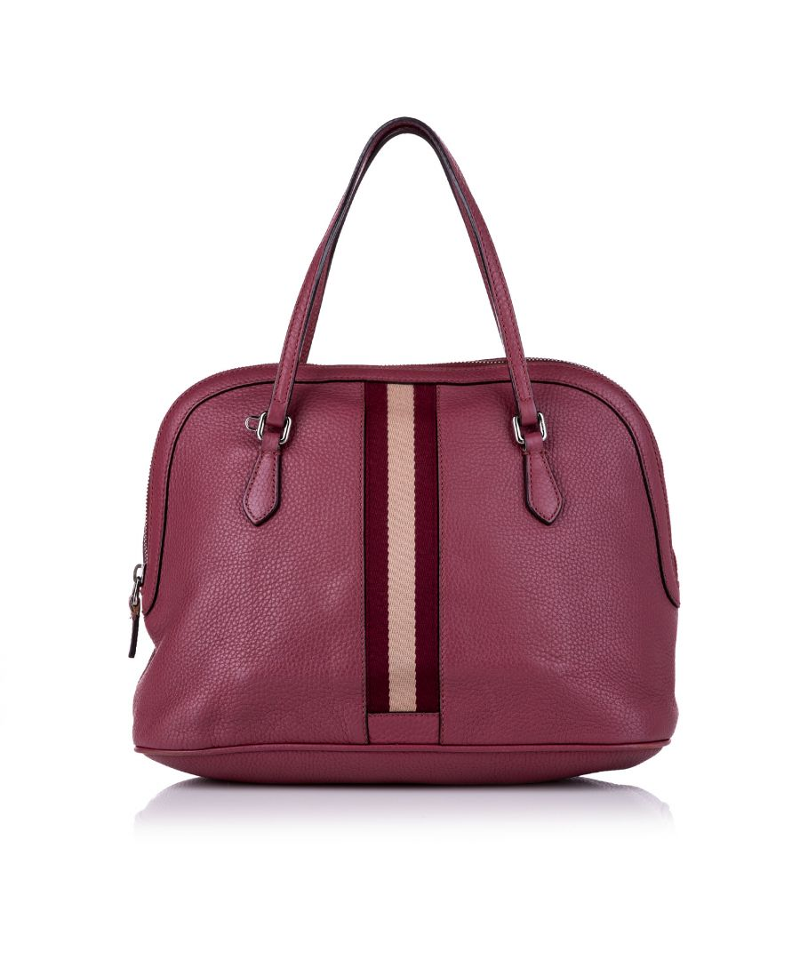 Image for Vintage Gucci Web Dome Leather Satchel Pink