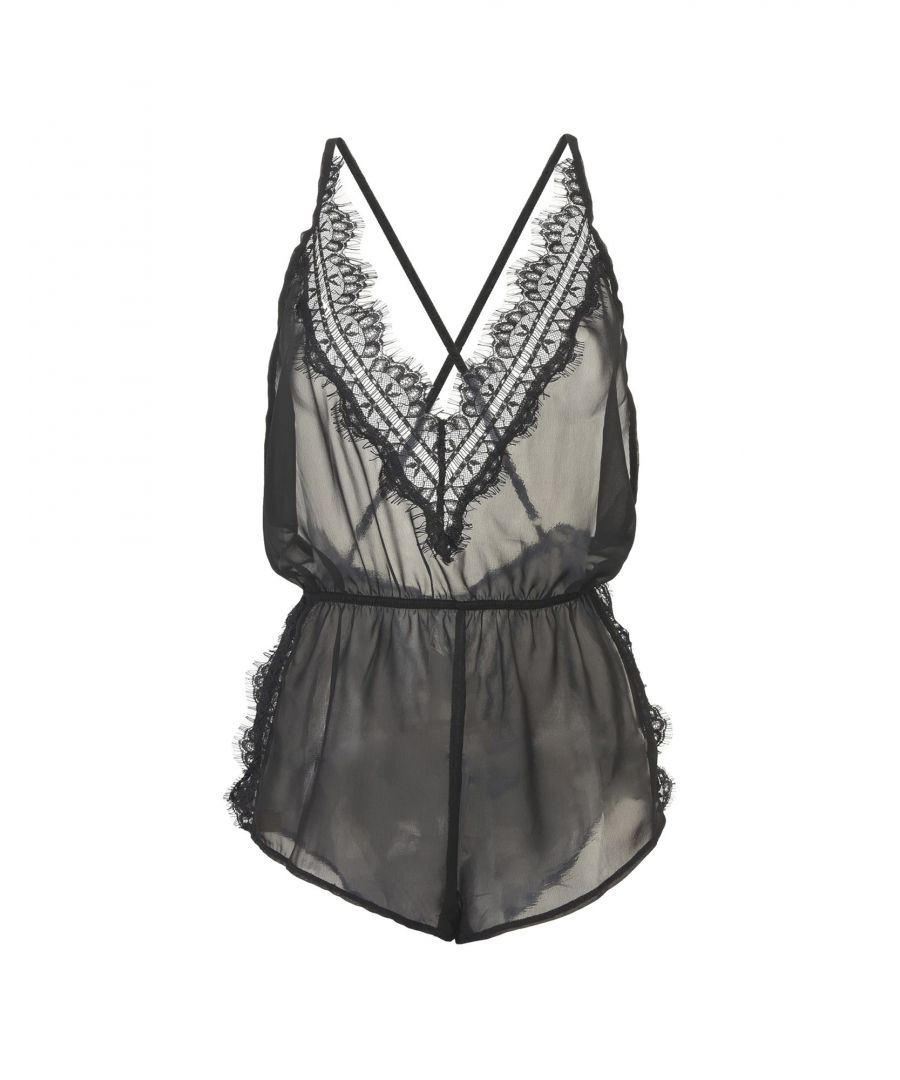 Image for Bluebella Black Voile And Lace Playsuit