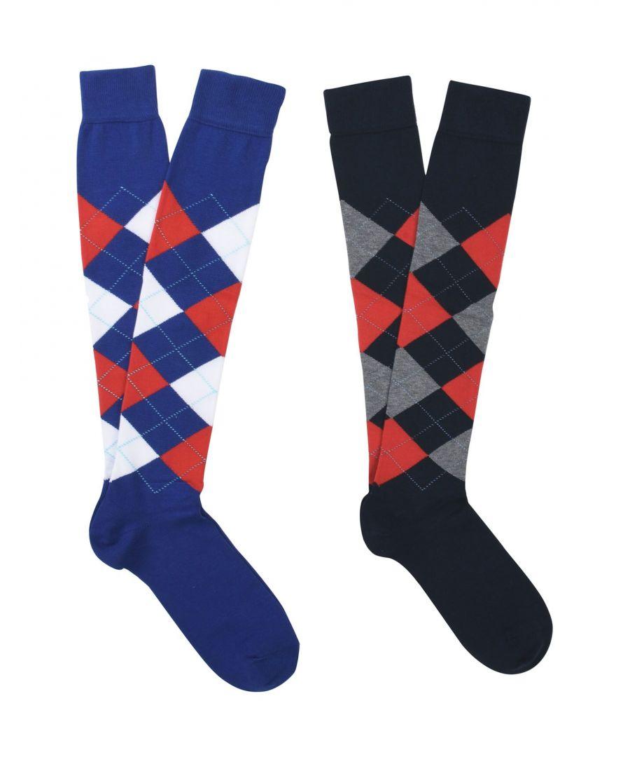 Image for Burlington Blue Geometric Cotton Knit Socks Two Pack