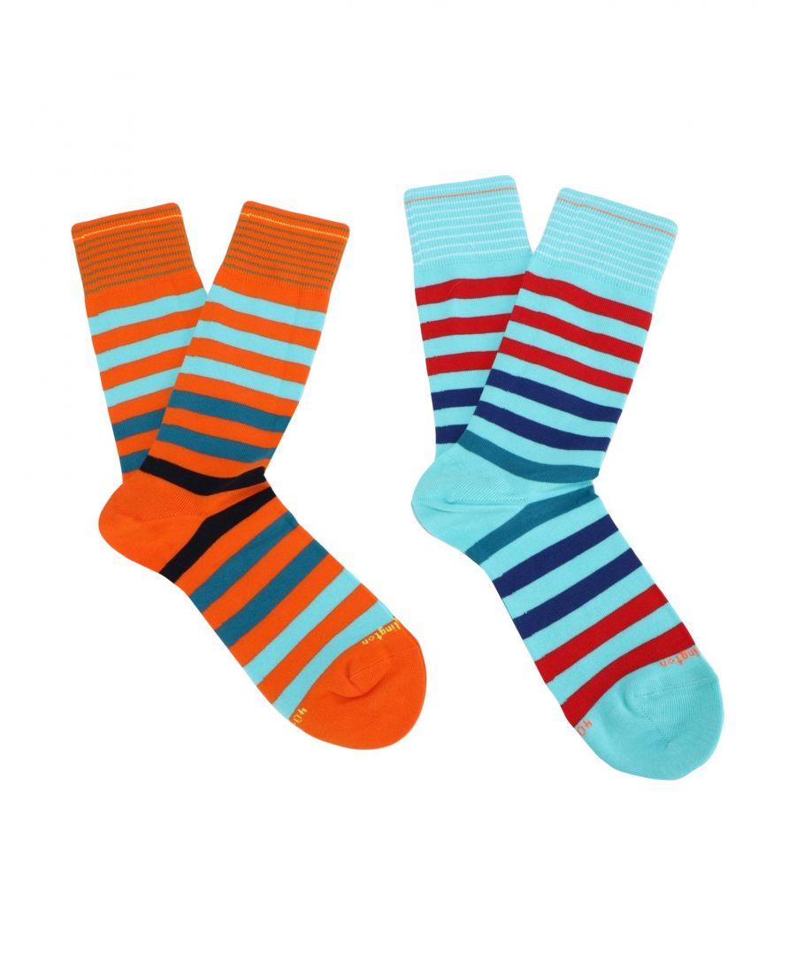 Image for Burlington Orange And Blue Stripe Cotton Knit Socks Set Of Two