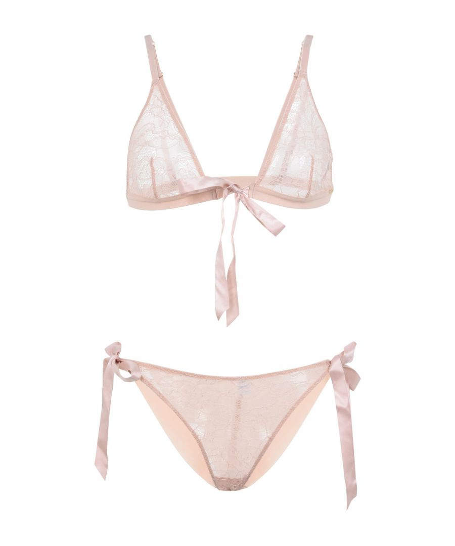 Image for Bluebella Pale Pink Tulle And Lace Soft Cup Bra and Tie Side Brief Set