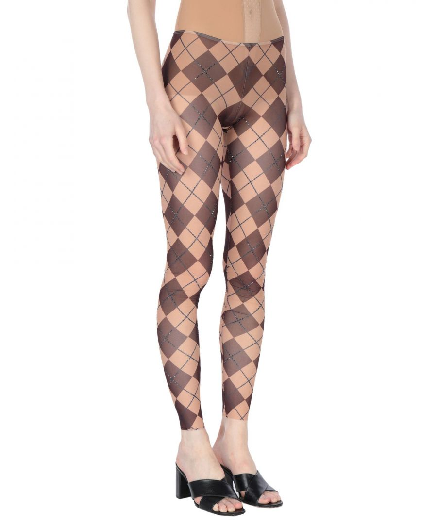 Image for Dsquared2 Cocoa Tulle Embellished Geometric Design Sheer Leggings