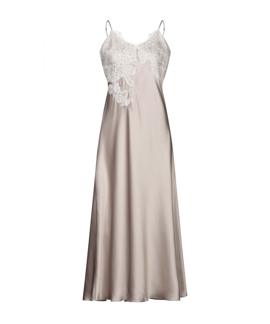 Image for Vivis Dove Grey Silk And Lace Full Length Nightdress