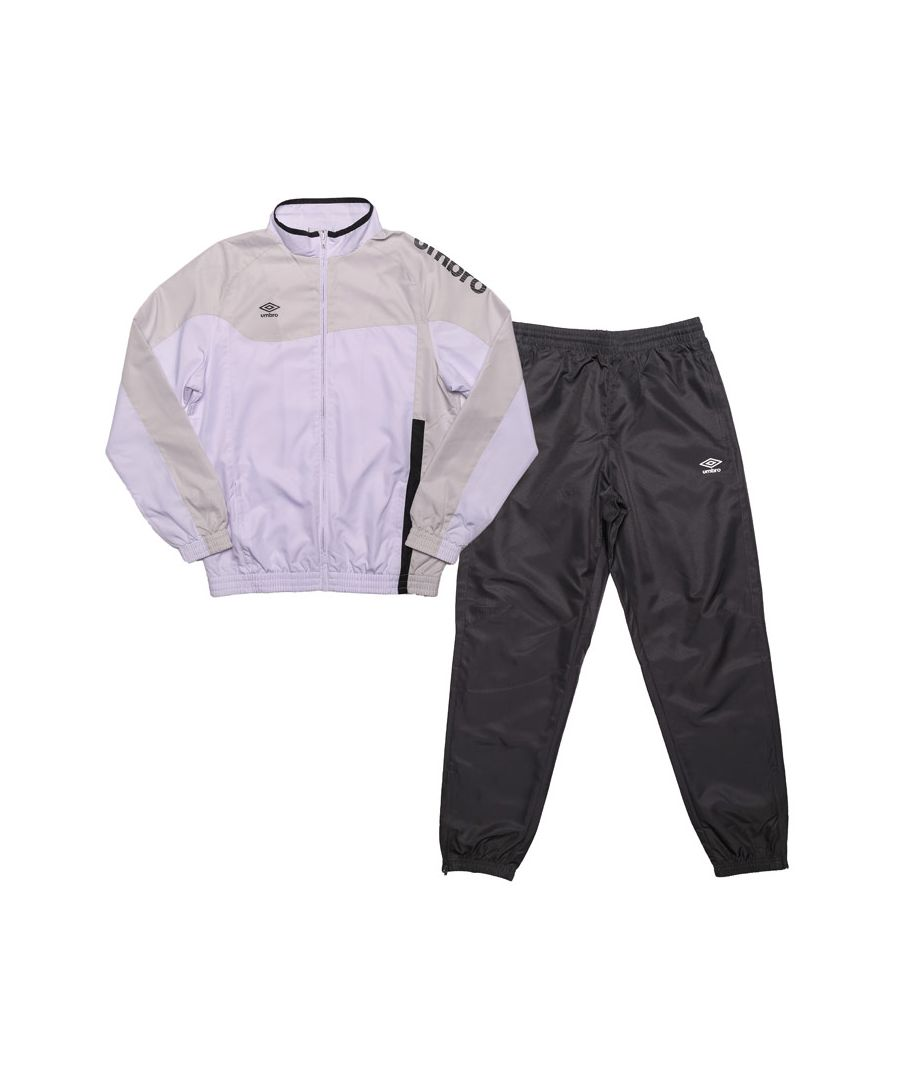 Image for Boy's Umbro Junior Division Lined Tracksuit in White Grey