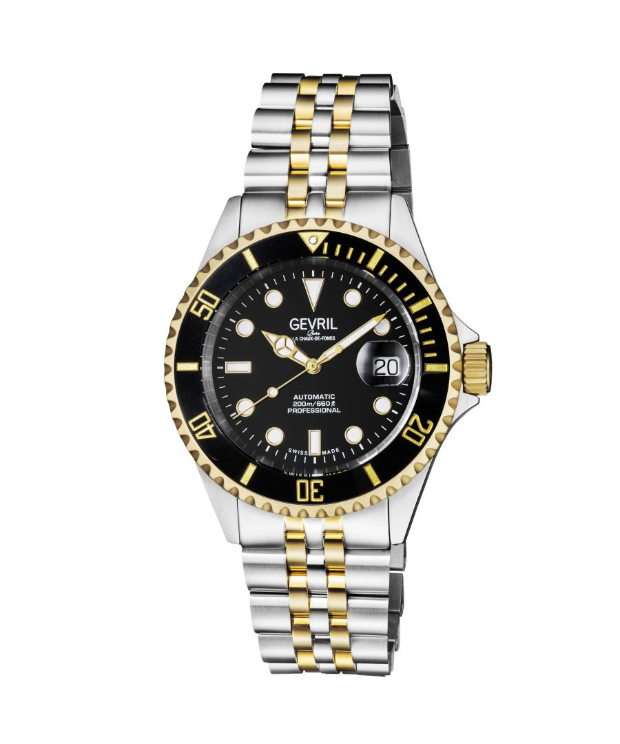 Image for Gevril Mens Wall Street Black Dial Two Tone IP Gold Stainless Steel Bracelet Watch