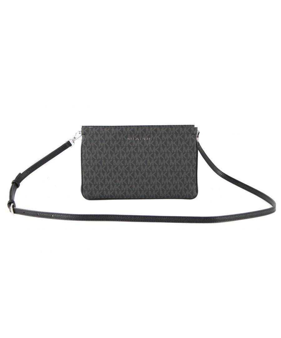 Image for Michael Kors Jet Set Travel Large Signature PVC Leather Triple Gusset Crossbody Clutch Handbag (Black Signature)