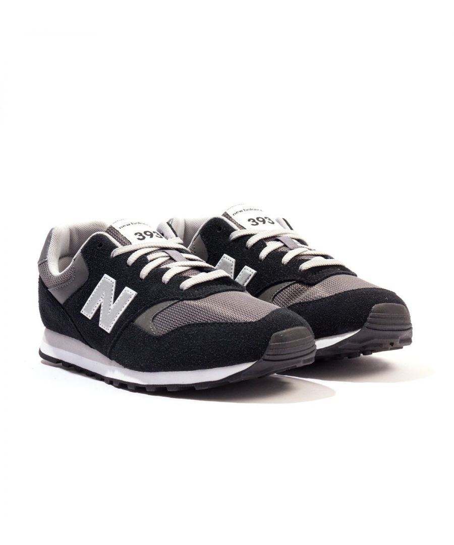 Image for New Balance 393 Suede & Mesh Trainers - Black & Grey