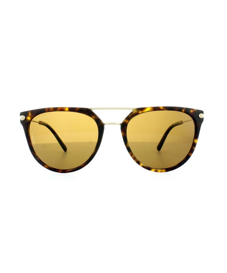Image for Bvlgari Sunglasses 7029 5411/83 Matt Dark Havana Gold Brown Polarized