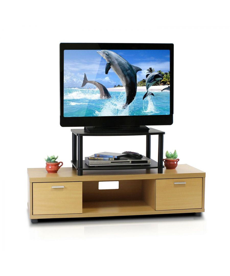 Image for Furinno Turn-N-Tube No Tools 2-Tier Elevated TV Stands - Black