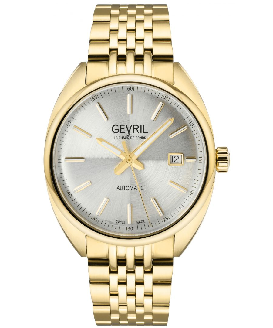 Image for Gevril Mens Five Points Silver Dial Yellow Gold Watch