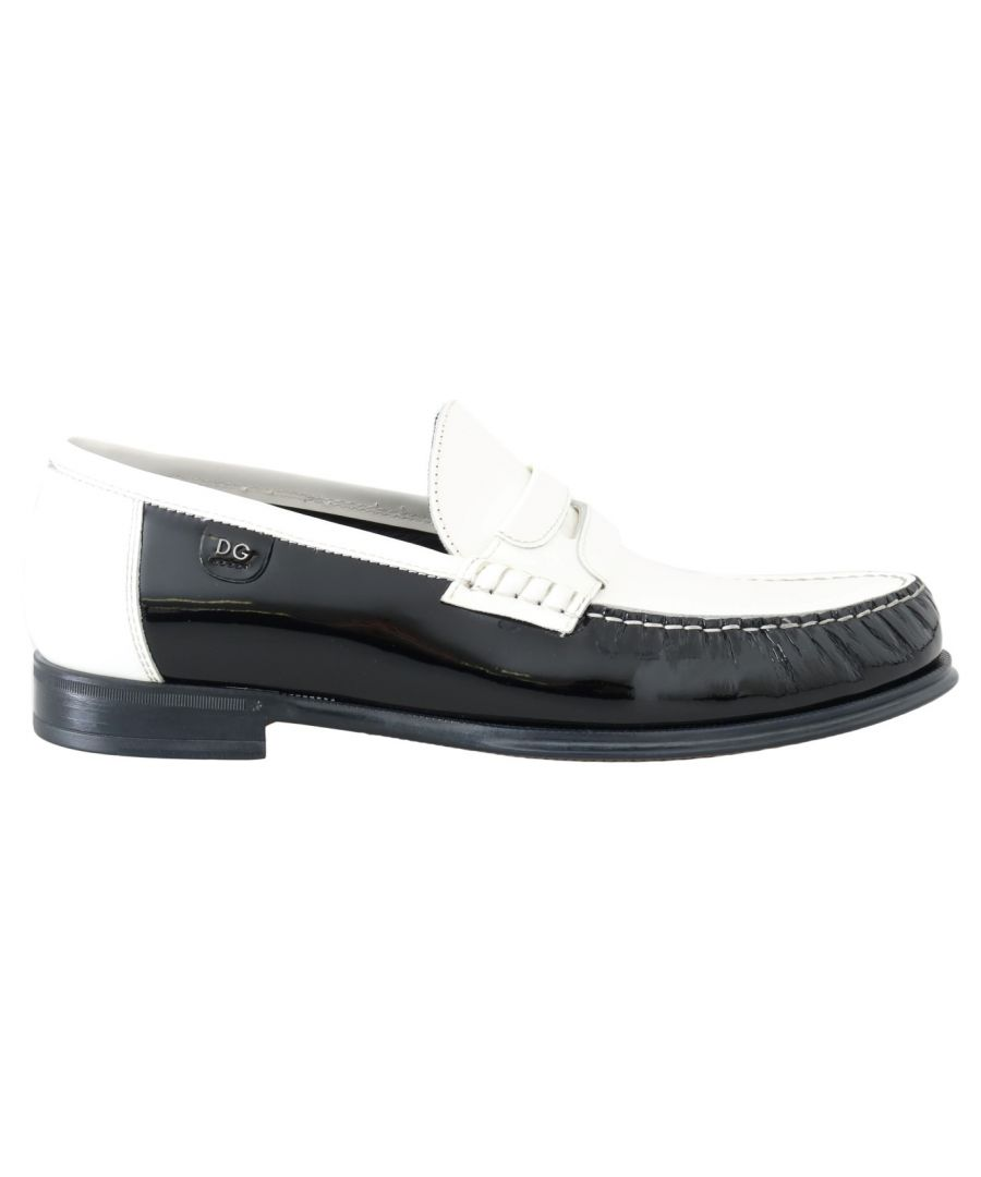 Image for Dolce & Gabbana Black White Leather Loafers