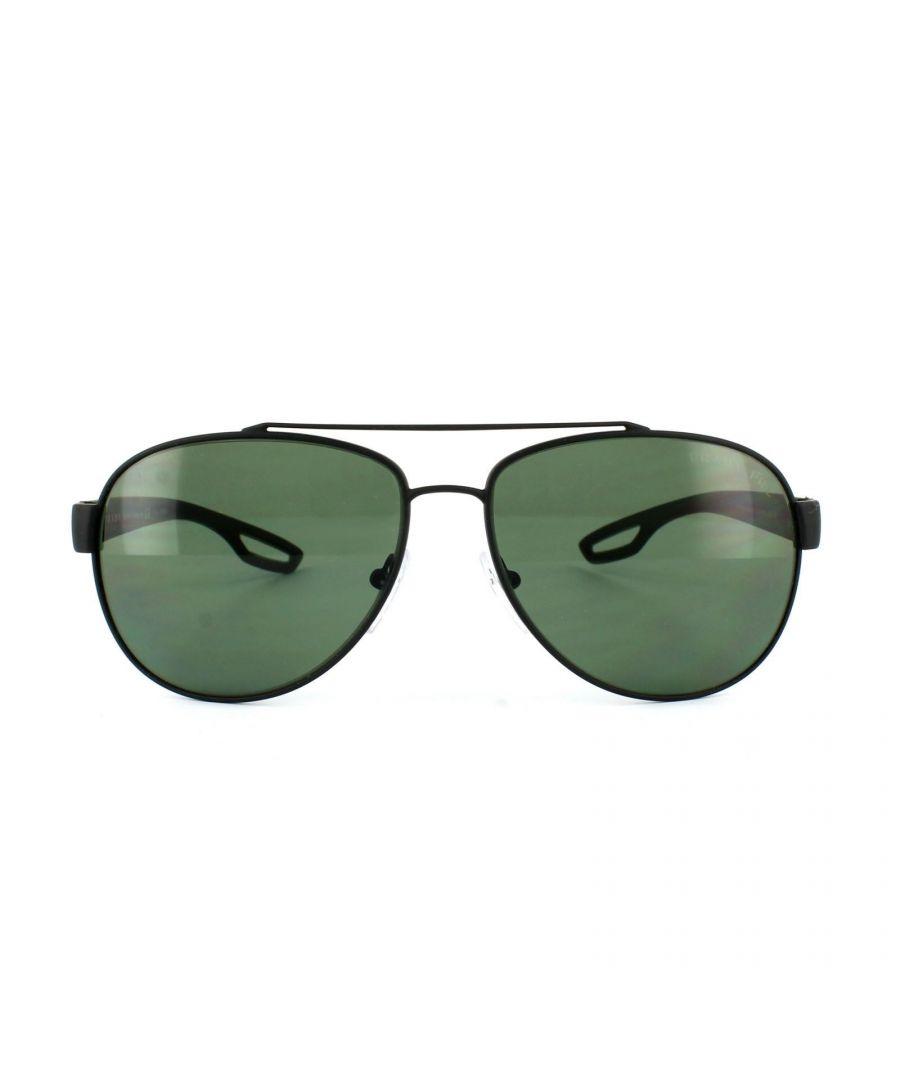 Image for Prada Sport Sunglasses 55QS DG05X1 Black Rubber Grey Green Polarized 62mm