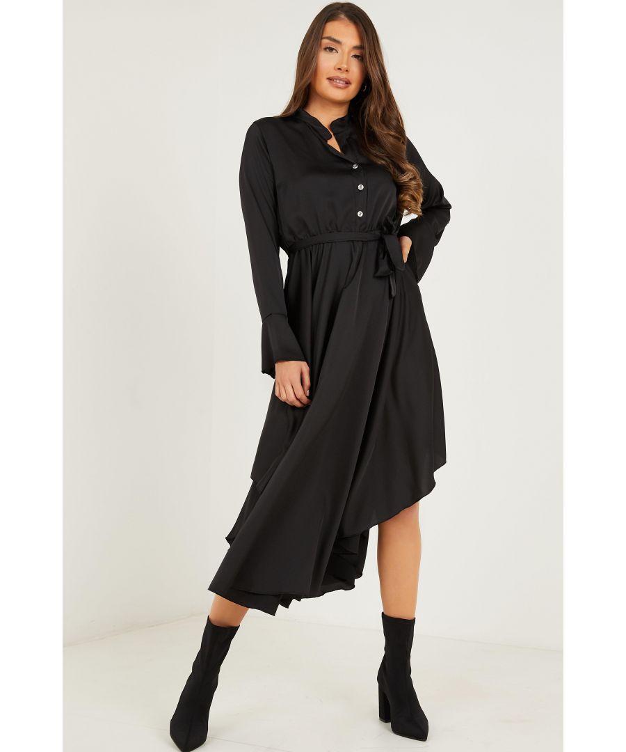 Image for Black Satin Hanky Hem Dress