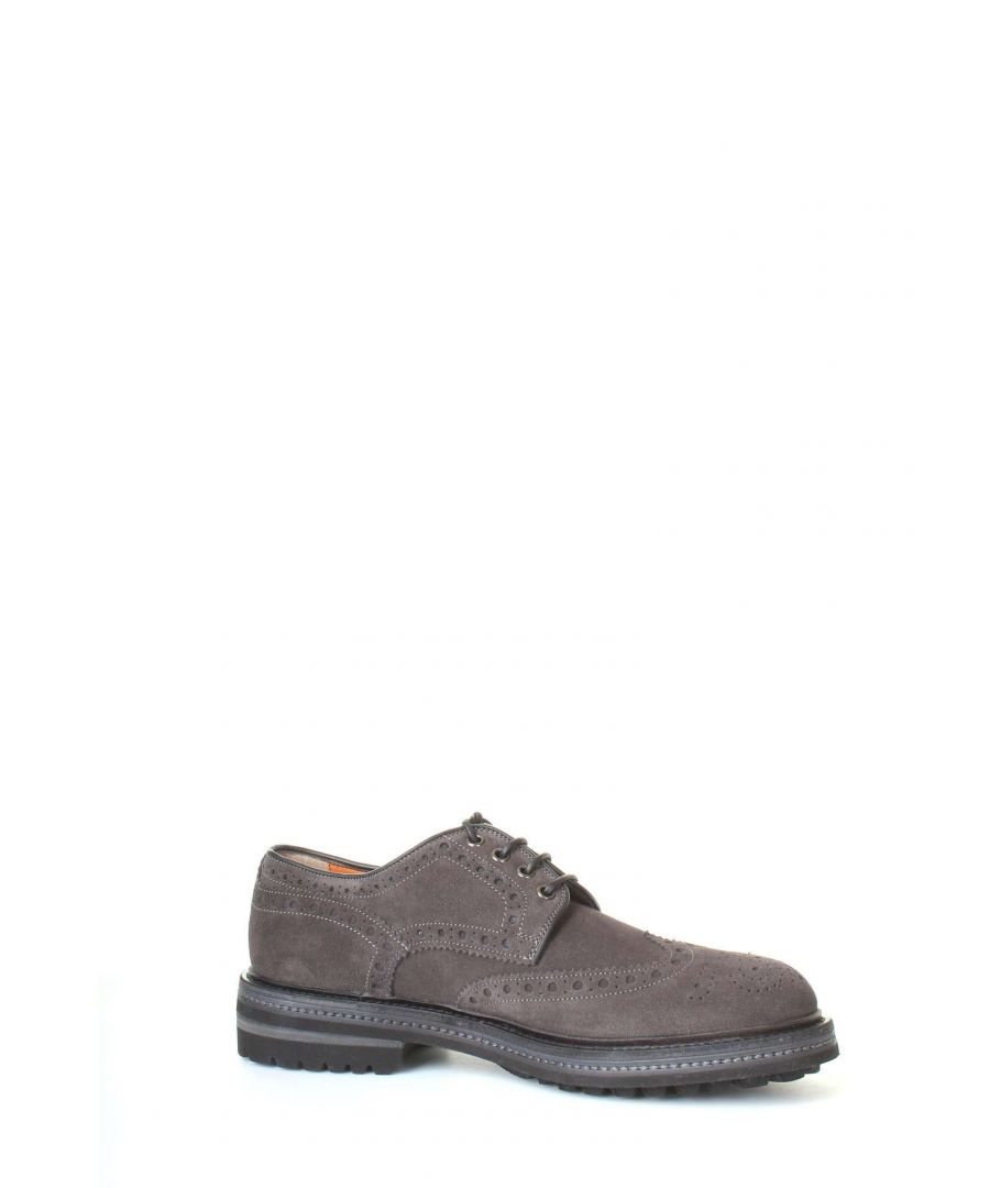 Image for SANTONI MEN'S MGMN11663JL2ISYWG65 GREY SUEDE LACE-UP SHOES