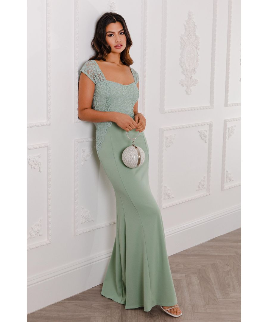 Image for Sage Glitter Lace Maxi Dress