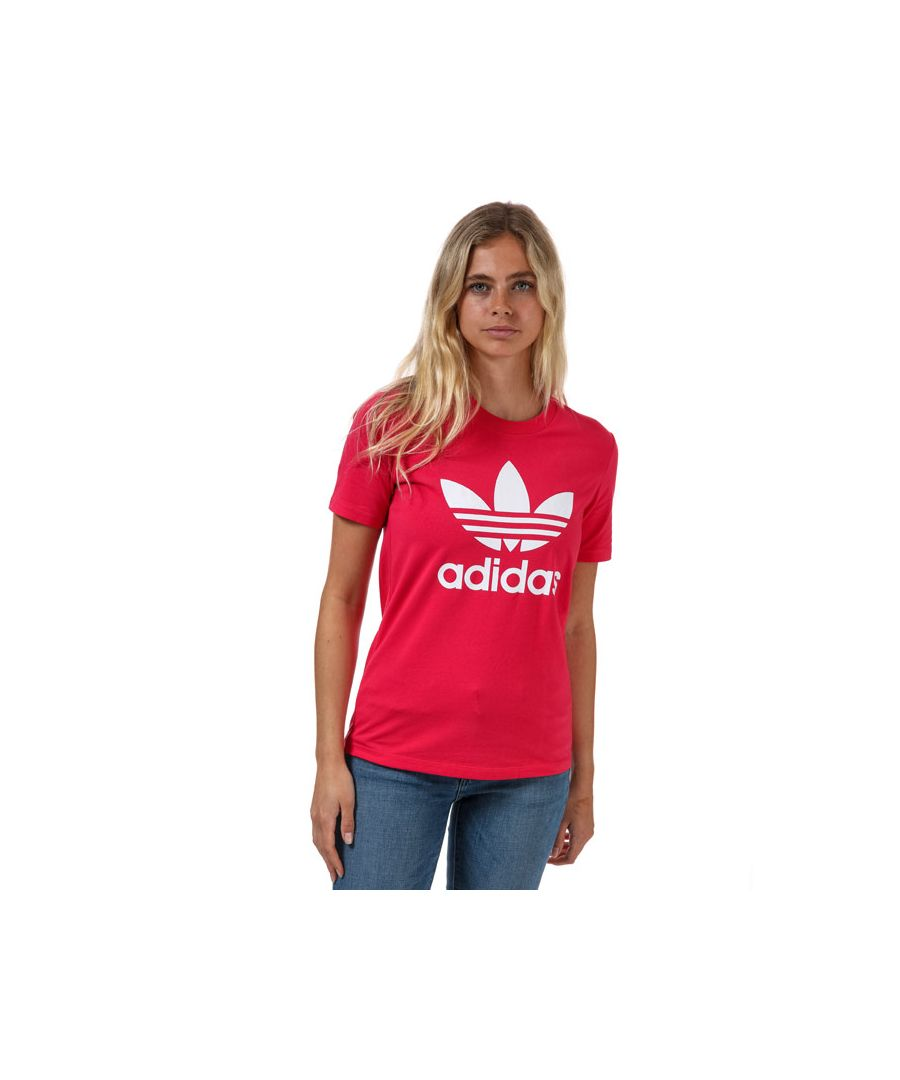 Image for Women's adidas Originals Trefoil T-Shirt in Pink White