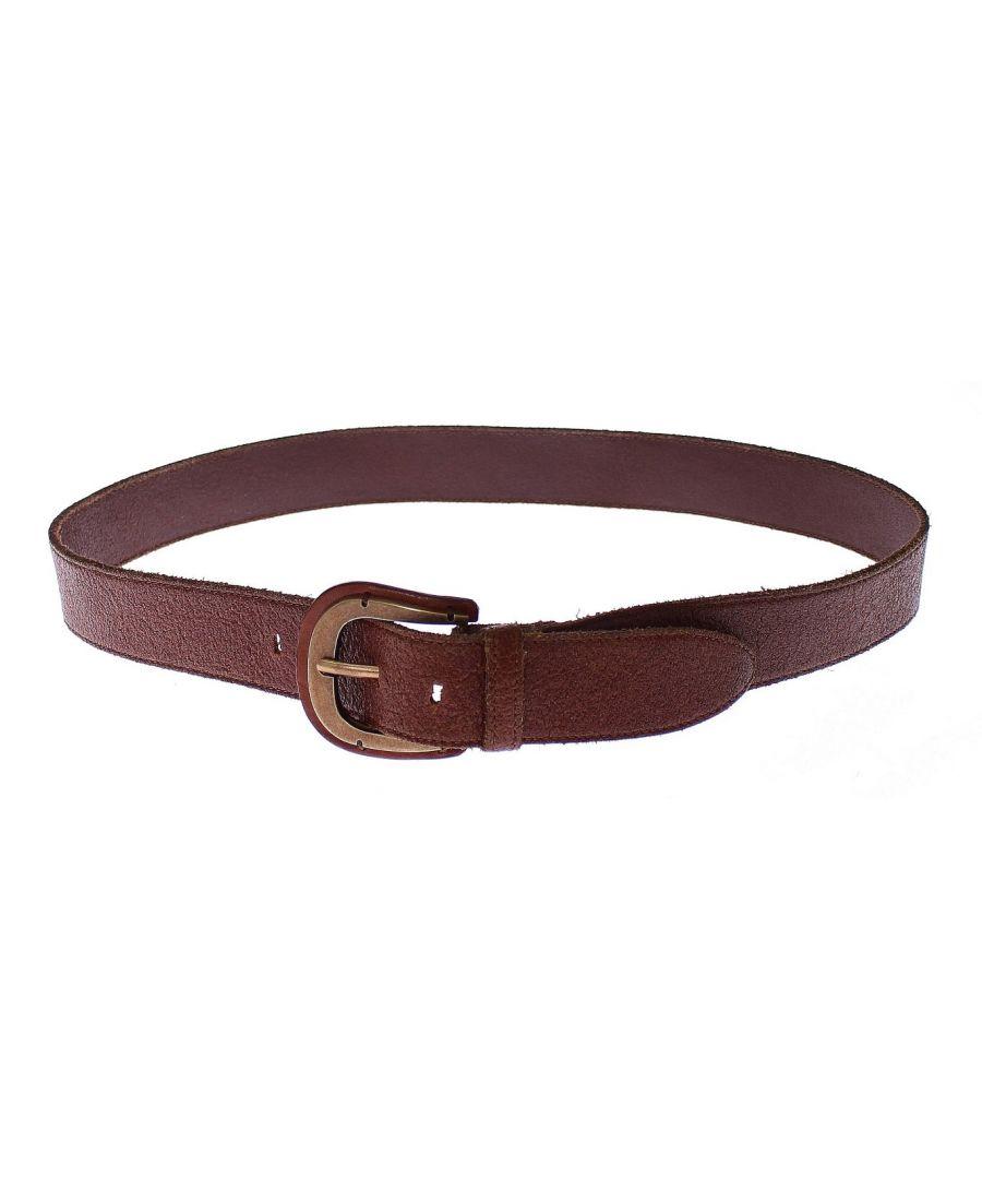 Image for Dolce & Gabbana Brown Leather Logo Waist Gold Buckle Belt