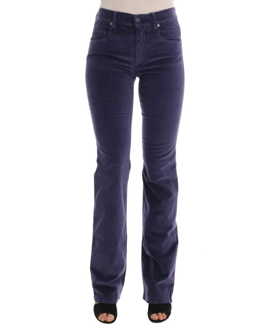 Image for Ermanno Scervino Purple Corduroy Stretch Bootcut Pants