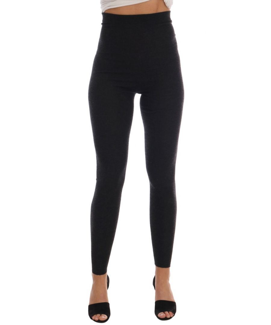Image for Dolce & Gabbana Gray Cashmere Ribbed Stretch Tights
