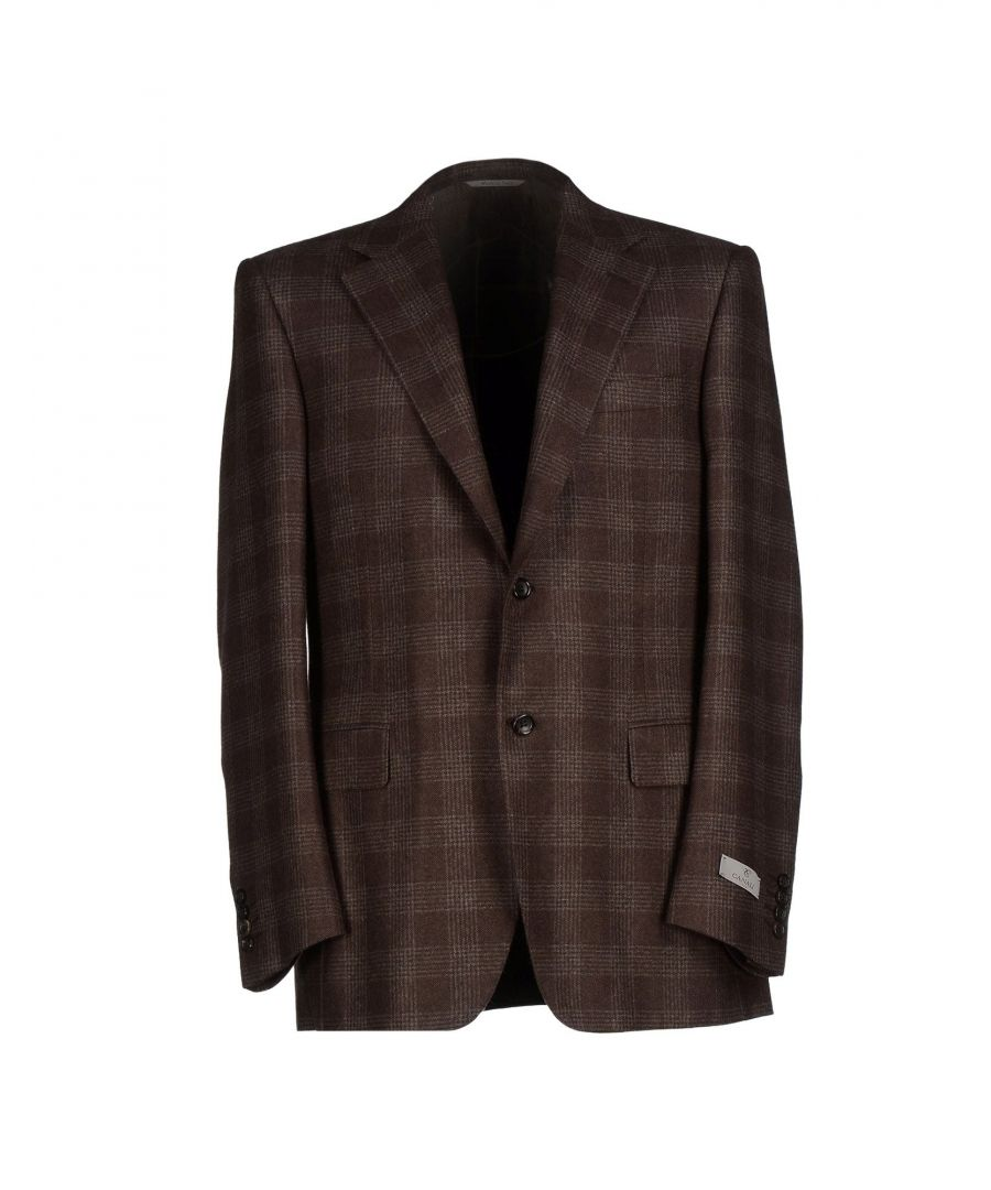 Image for Canali Dark Brown Tartan Single Breasted Jacket