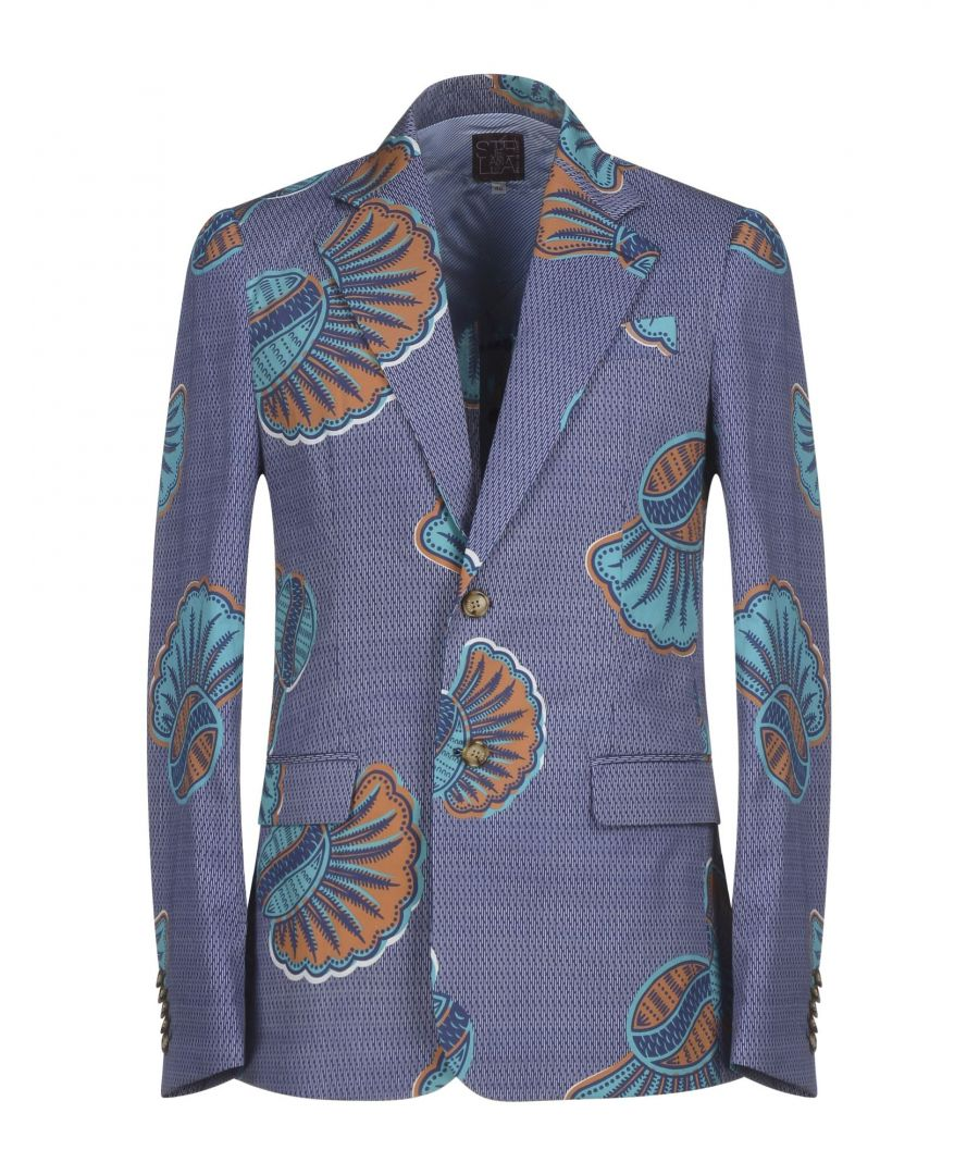 Image for Stella Jean Blue Pattern Cotton Single Breasted Jacket