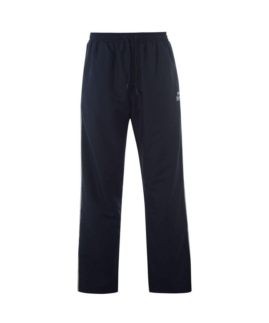 Image for Lonsdale Mens 2 Stripe Open Hem Woven Pants Tracksuit Bottoms Lightweight Zip