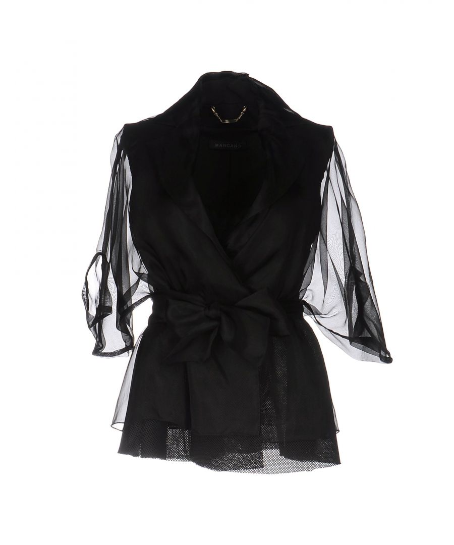 Image for Mangano Black Double Breasted Jacket With Organza Sleeves