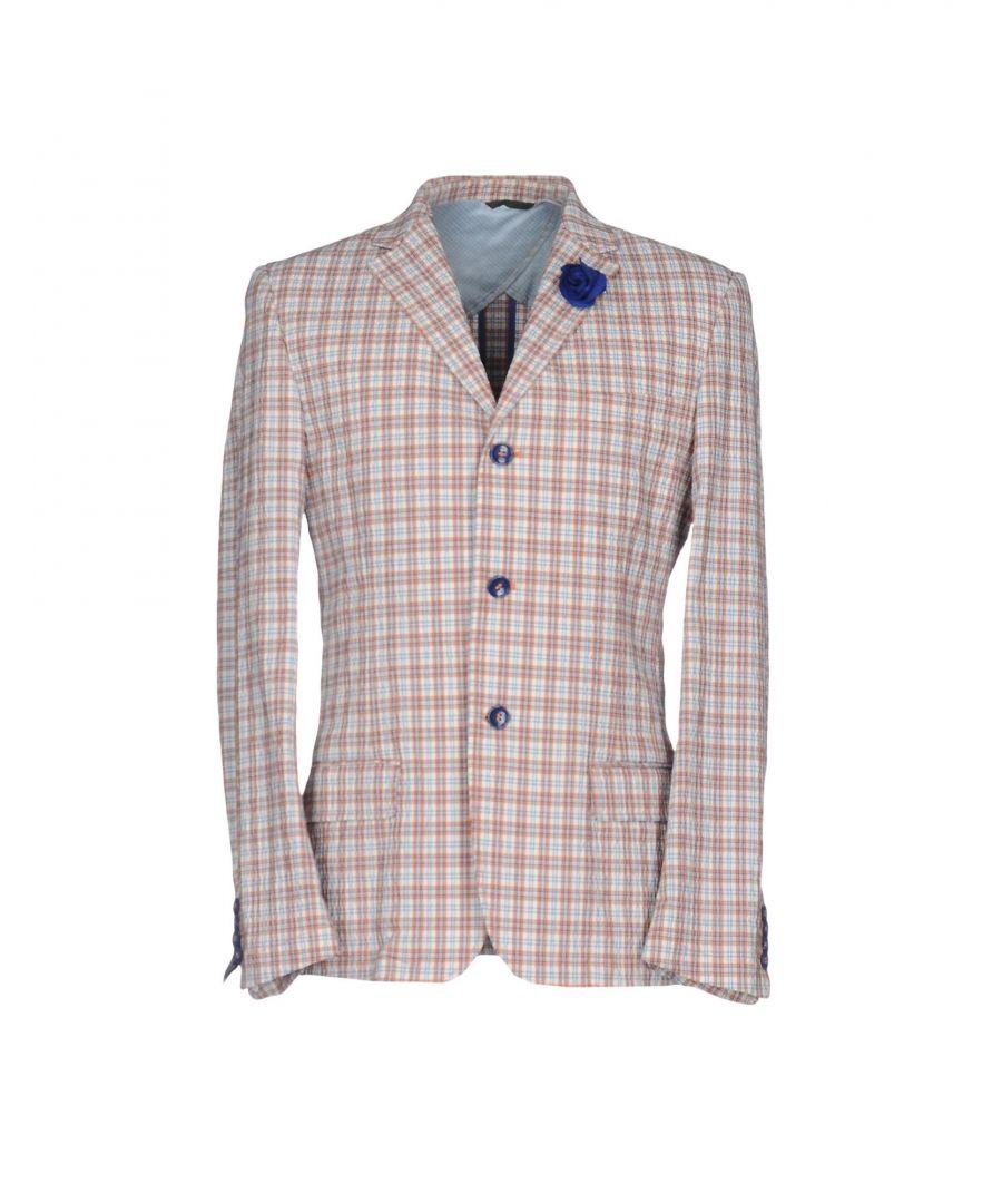 Image for Daniele Alessandrini Orange Plaid Cotton Single Breasted Jacket