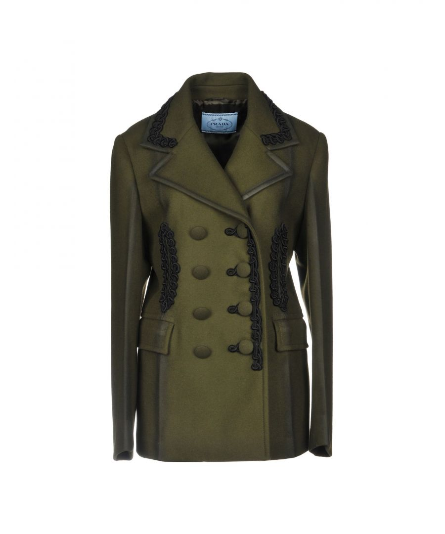 Image for Prada Military Green Wool Double Breasted Coat