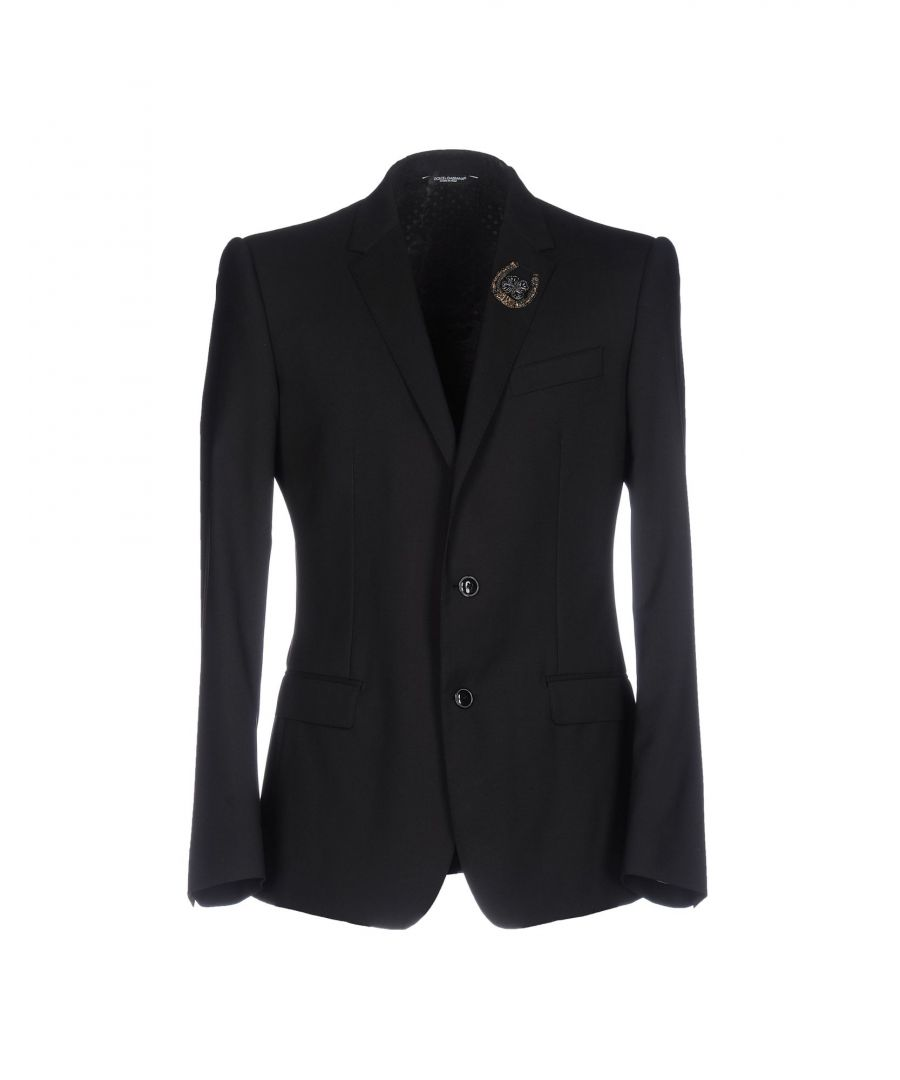 Image for Dolce & Gabbana Black Virgin Wool Embellished Single Breasted Jacket