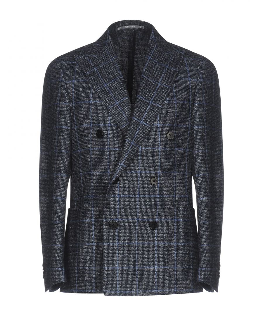 Image for Cantarelli Blue Check Virgin Wool Double Breasted Jacket