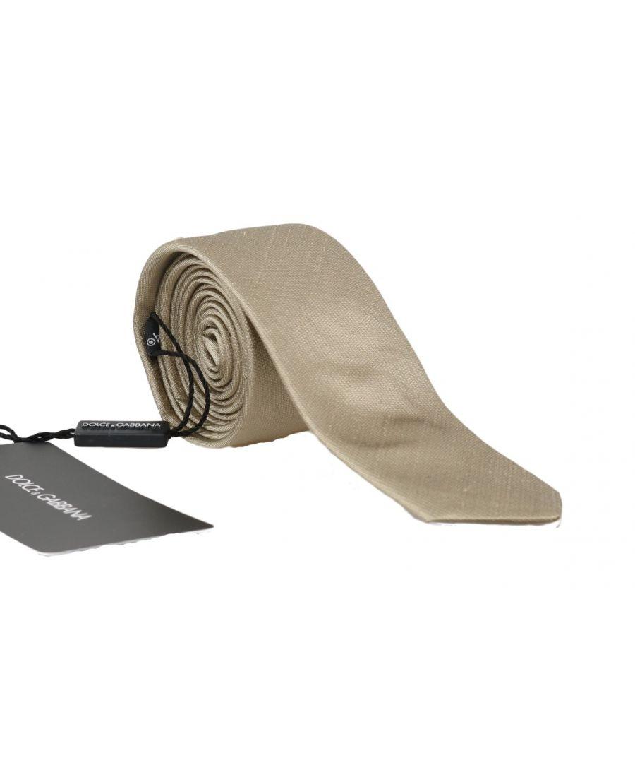 Image for Dolce & Gabbana Beige Silk Solid Slim Tie