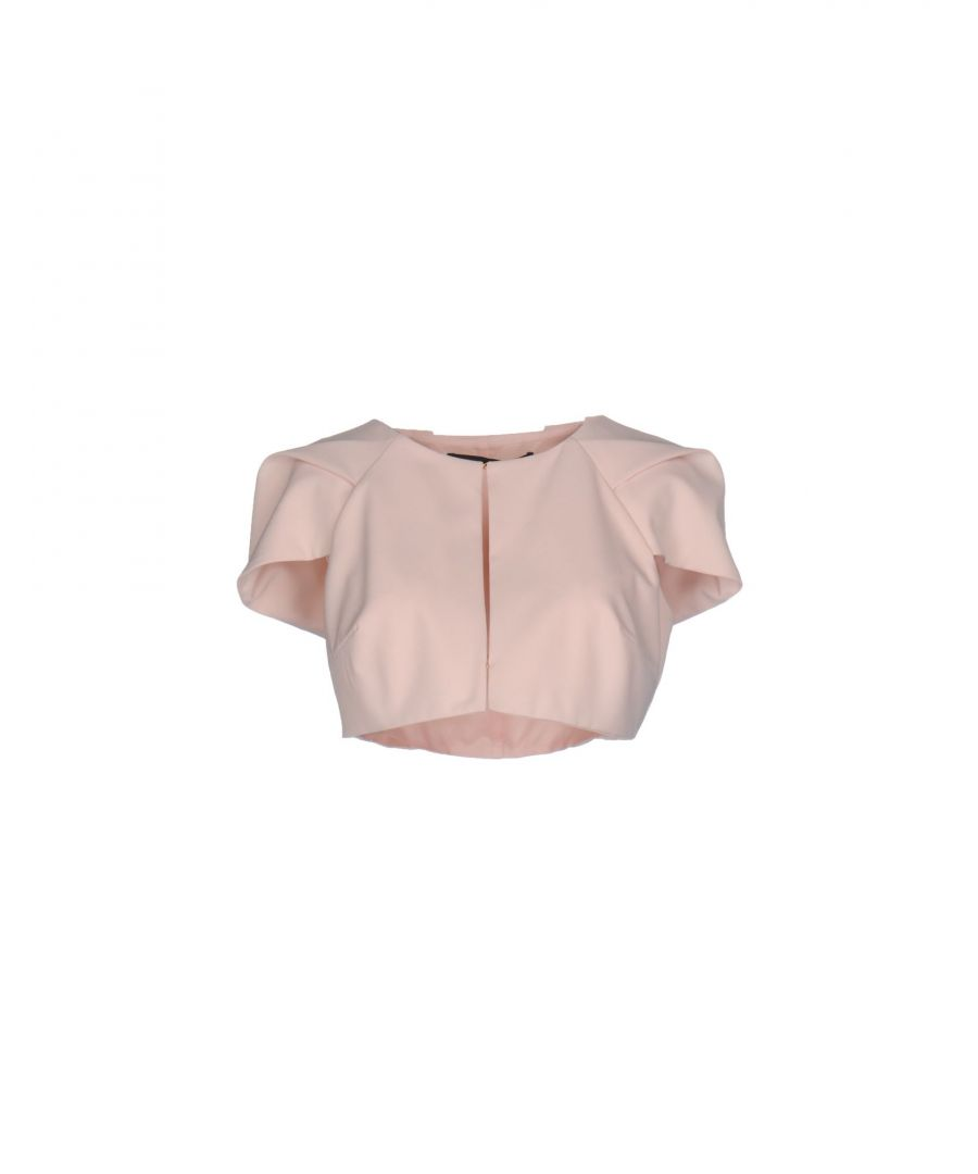 Image for Annarita N Light Pink Crepe Cropped Short Sleeve Jacket