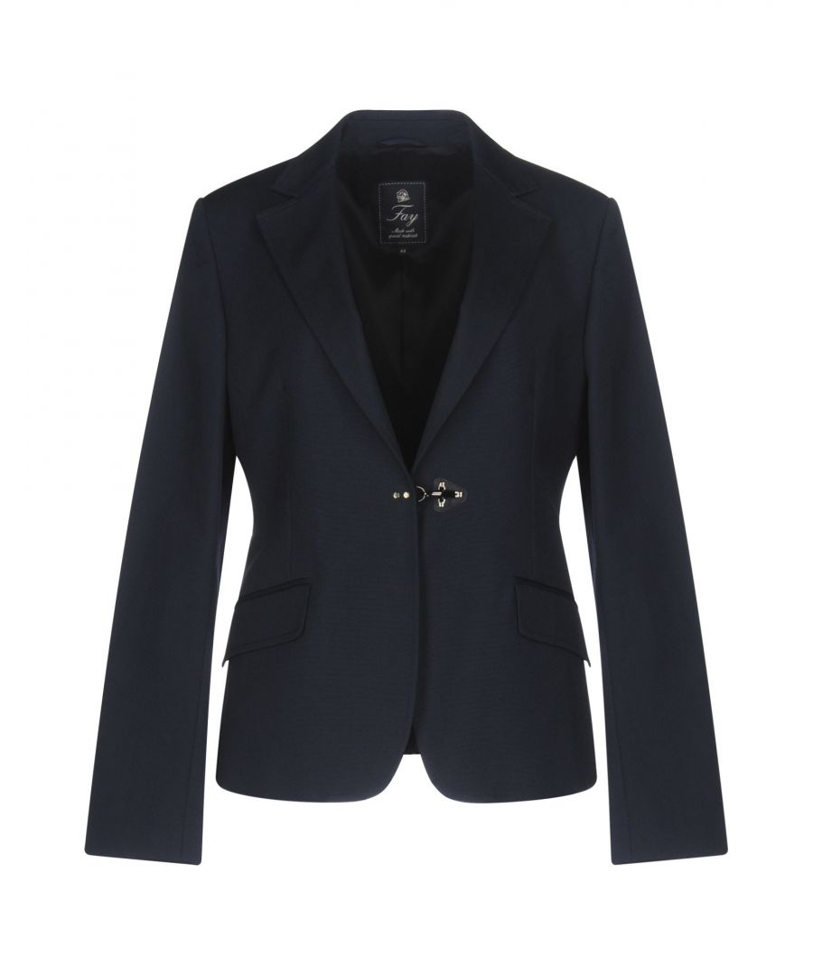 Image for Fay Dark Blue Cotton Single Breasted Blazer