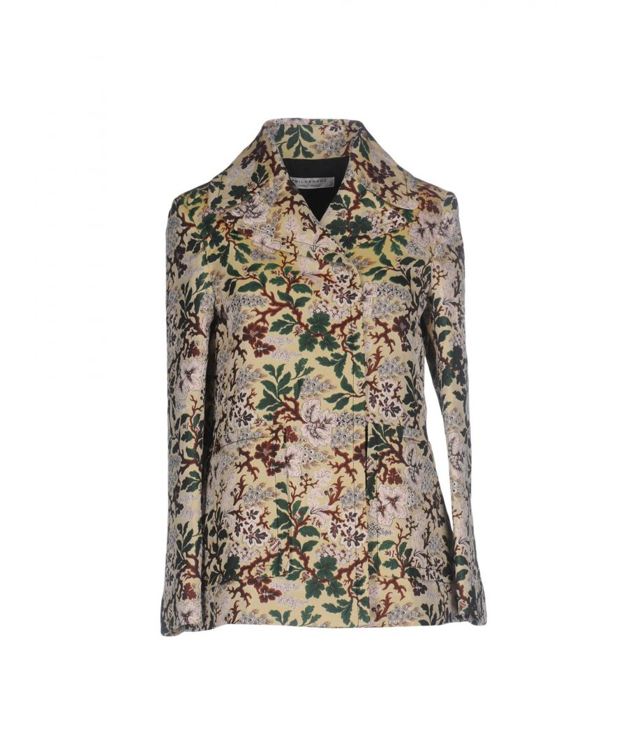 Image for Philosophy Di Lorenzo Serafini Beige Floral Print Jacquard Double Breasted Jacket