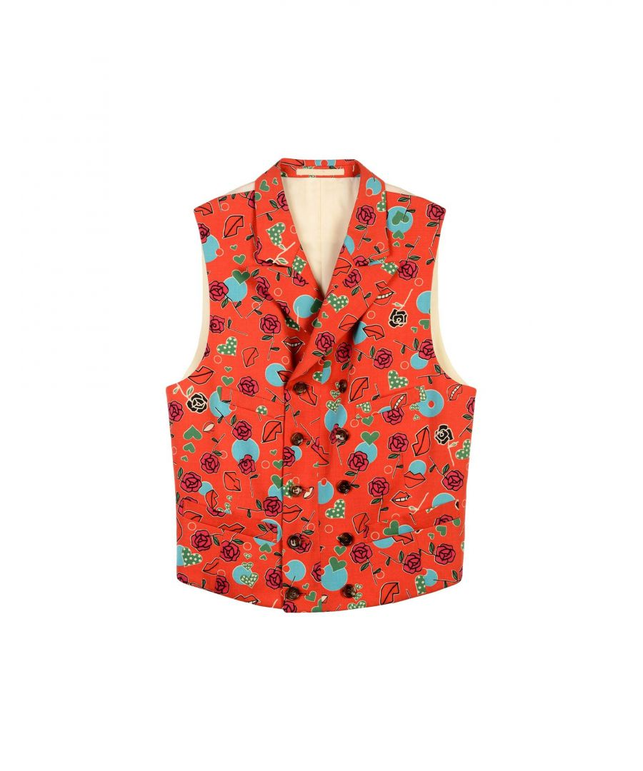 Image for Comme Des Garcons Red Floral Design Wool Waistcoat