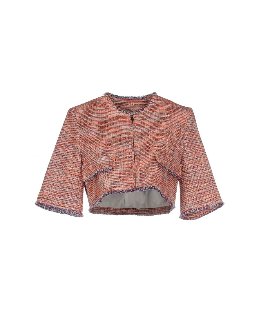 Image for MSGM Orange Tweed Cotton Cropped Jacket