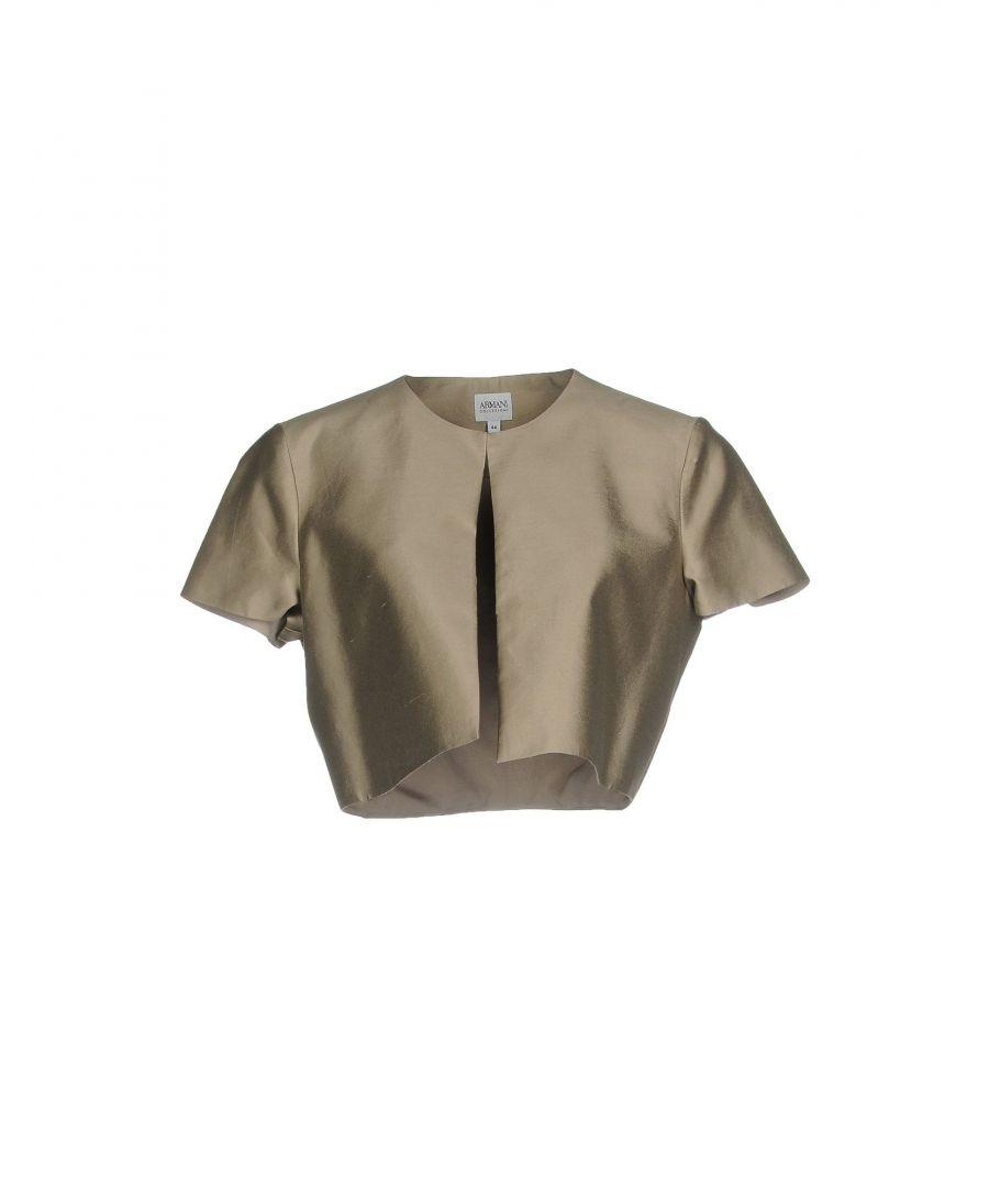 Image for Emporio Armani Khaki Silk Cropped Short Sleeve Jacket