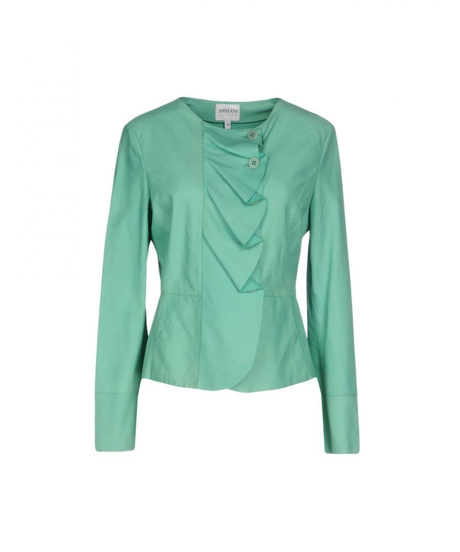 Image for Armani Collezioni Light Green Leather Jacket