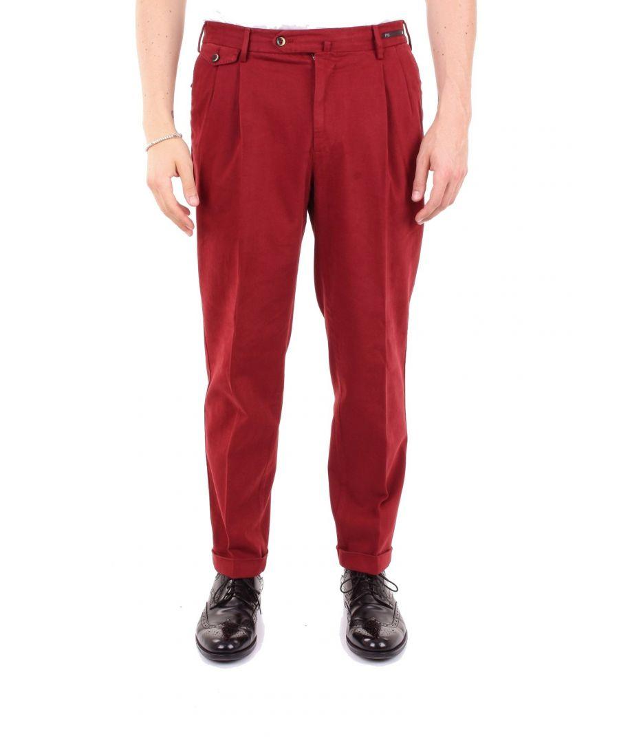 Image for PT01 MEN'S EB19GT21ZP0CL1BORDEAUX BURGUNDY COTTON PANTS