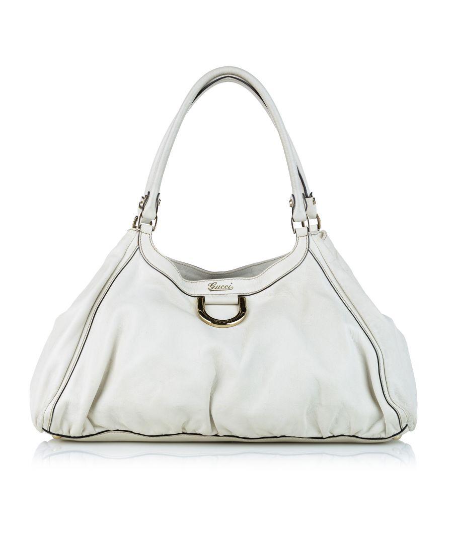 Image for Vintage Gucci Abbey Leather Shoulder Bag White